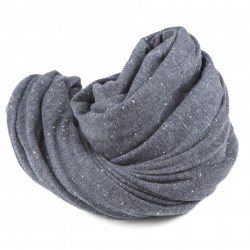 A folded gray cotton neck scarf isolated on a white background